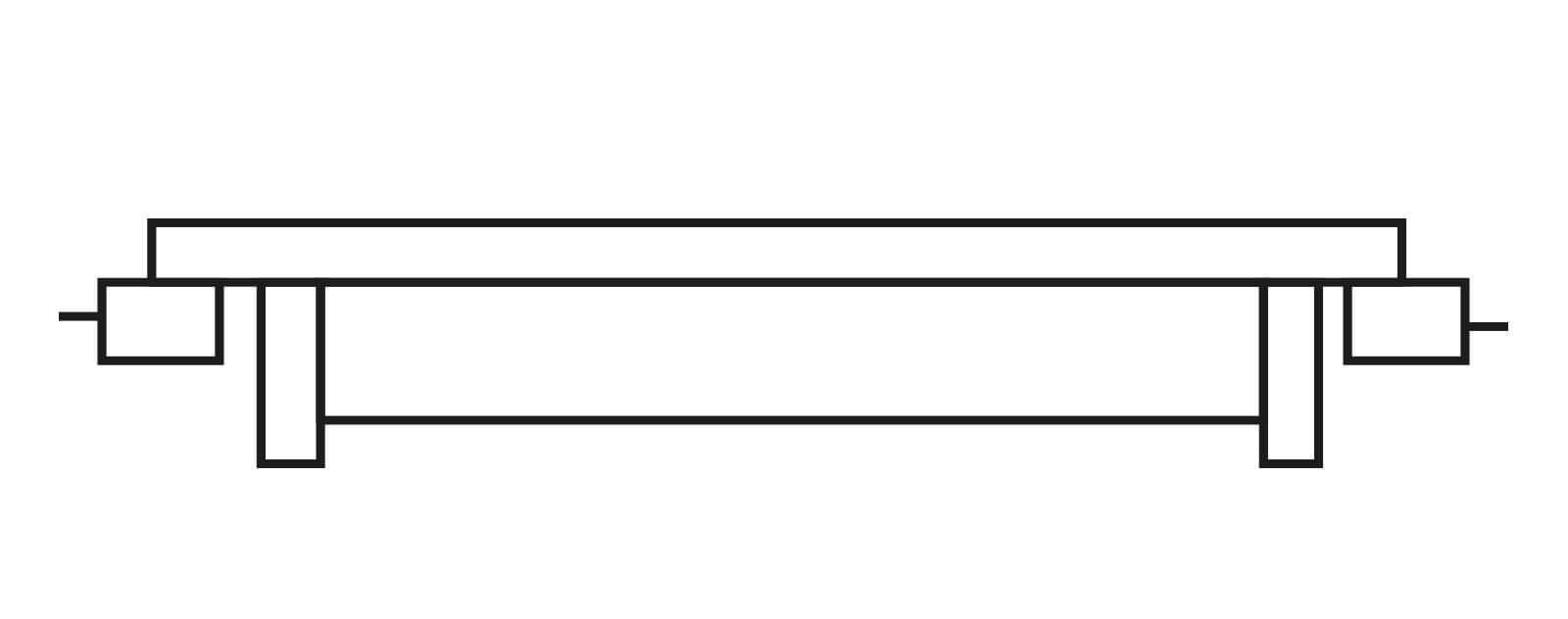Schéma d'une bande caoutchouc raide en trame de type XE ou XST2 pour bande transporteuse